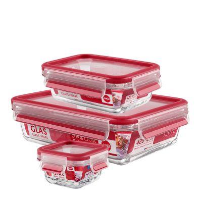 Emsa CLIP & CLOSE GLAS Frischhaltedose Set, 0,2 / 0,5 / 1,3 L
