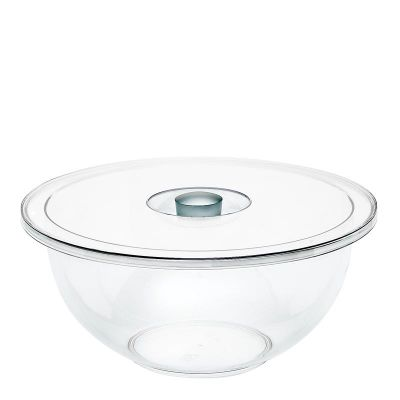 Emsa FIT & FRESH Salatschale mit Deckel, Transparent/Aluoptik, 8,0 L