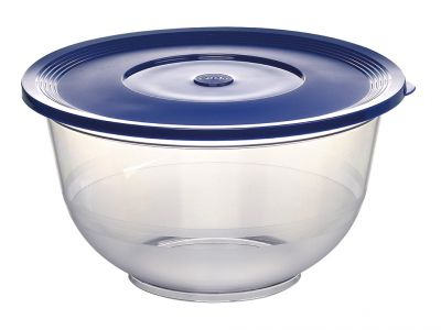 Emsa SUPERLINE Salatschale Set, mit Deckel, Transparent/Blau, 2,0 + 3,