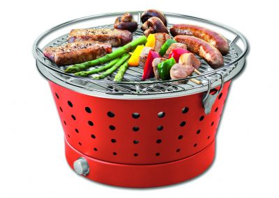 FunBBQ Holzkohlegrill Tischgrill ohne Rauch, � 30 cm, rot