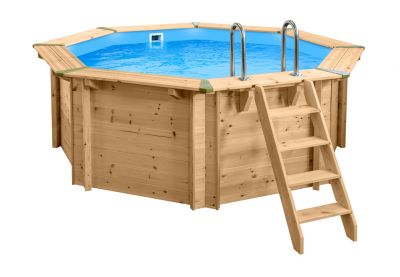 Interline Holzpool Bali Set 3 Ø 355 cm, 116 cm hoch Schwimmbecken Pool